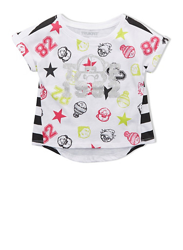 Girls Trukfit Top With Glitter Varsity Graphic,WHITE,large