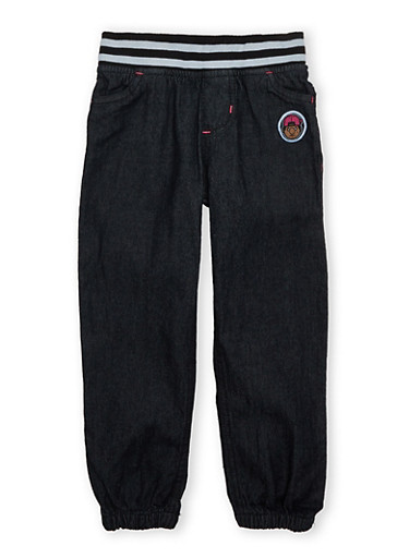 Girls Trukfit Denim Joggers With Striped Waistband,BLACK,large