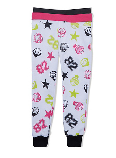 Girls Trukfit Joggers With Foldover Waist And Assorted Star Graphics,WHITE,large