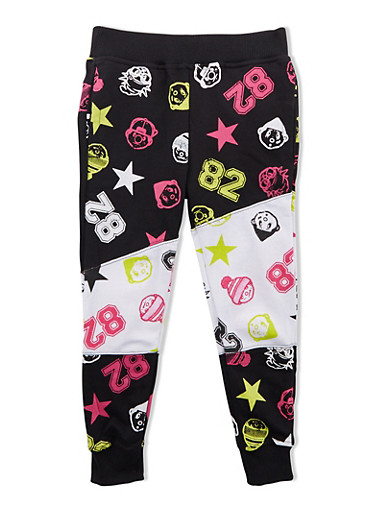 Girls Trukfit Varsity Print Joggers,BLACK,large