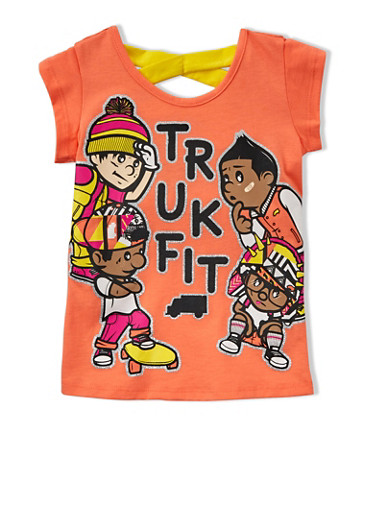 Girls 4-6x Trukfit Graphic T-Shirt with Crisscross Back,ORANGE,large