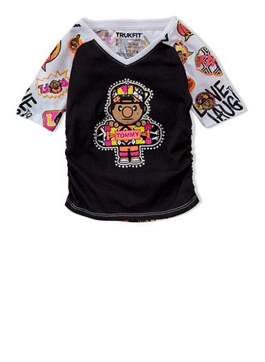 Girls 4-6x Trukfit Tommy Graphic Top with Rhinestones,BLACK,large