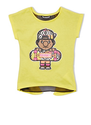 Girls 4-6x Trukfit Graphic Tee with Open Back and Sheer Underlay,YELLOW,large