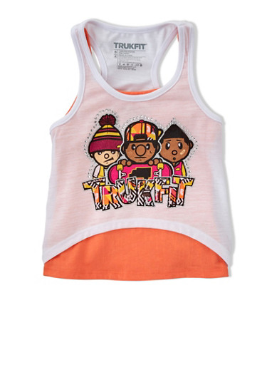 Girls 4-6x Trukfit Tank Top with Rhinestone Graphic,WHITE,large