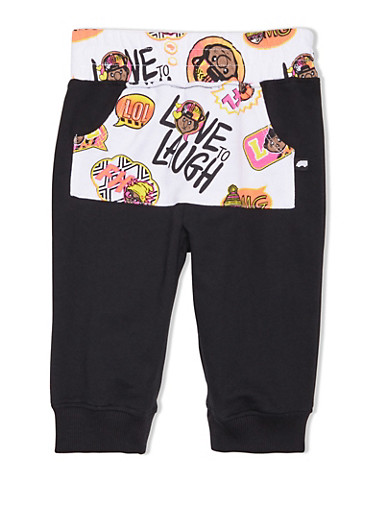 Girls 4-6x Trukfit Sweatpants with Printed Front Pocket,BLACK,large