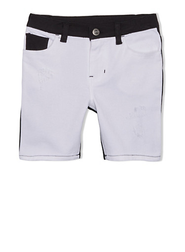 Girls 4-6x Trukfit Colorblock Shorts with Logo Patch,BLACK,large