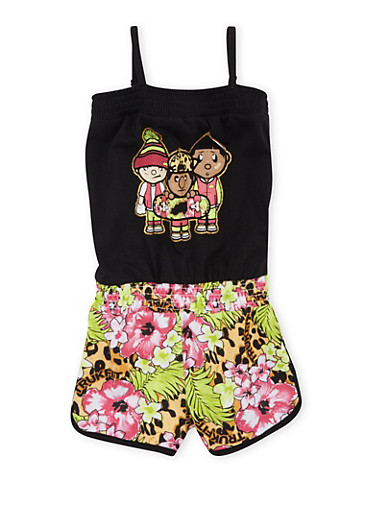 Girls 4-6x Trukfit Romper with Graphic,BLACK,large