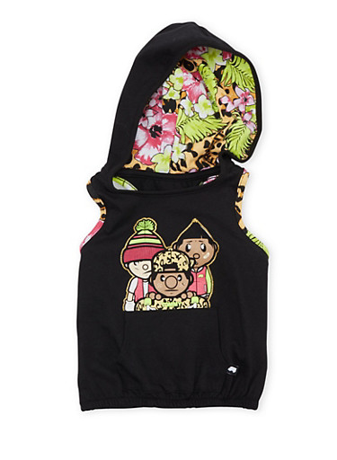 Girls 4-6x Trukfit Hoodie with Skater Graphic,BLACK,large
