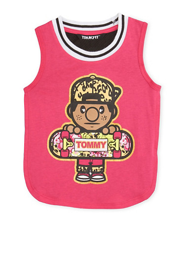 Girls 4-6x Trukfit Tank Top with Mesh Back,PINK,large