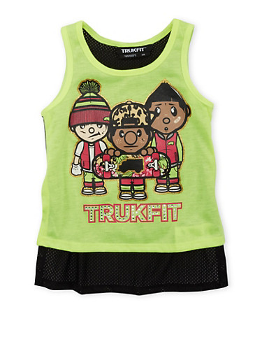 Girls 4-6x Trukfit Tank Top with Mesh Back and Rhinestone Graphic,YELLOW,large