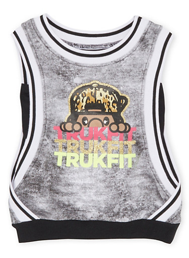 Girls 4-6x Trukfit Graphic Tank Top with Open Sides,BLACK,large
