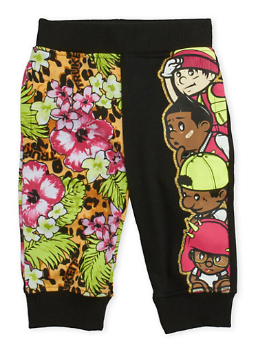 Girls 4-6x Trukfit Tropical Leopard Print Joggers with Glitter,BLACK,large