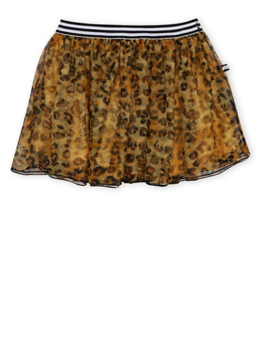 Girls 4-6x Trukfit Tutu Skirt in Leopard Print,BLACK,large