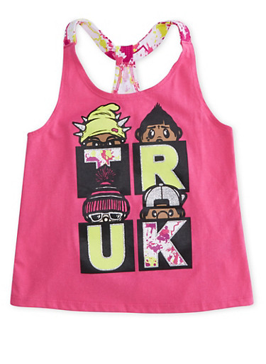 Girls 4-6x Trukfit Graphic Tank Top with Paint Splatter Tulip Back,FUCHSIA,large