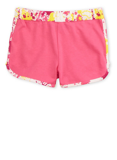 Girls 4-6x Track Shorts with Glitter Logo,FUCHSIA,large