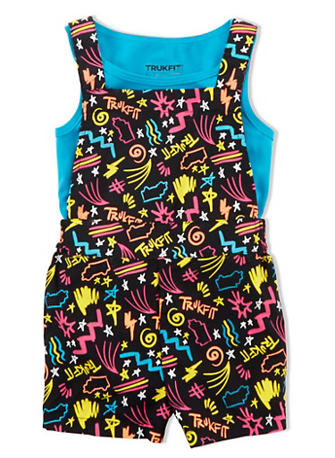 Girls 4-6x Trukfit Sleeveless Top With Short Logo Overall Set,TURQUOISE,large
