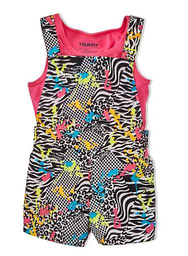 Girls 4-6x Trukfit Sleeveless Top With Animal Print Motif Short Overalls Set,FUCHSIA,large