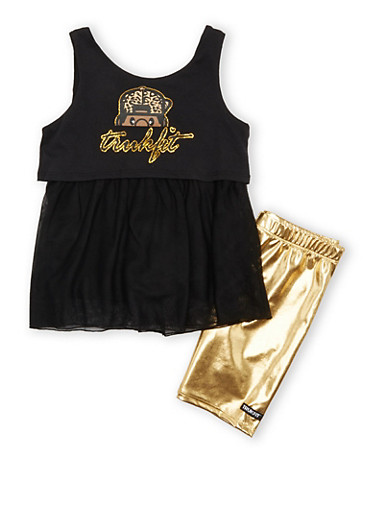 Girls 4-6x Trukfit Foil Bermuda Shorts Two Piece Set With Glitter Graphic,BLACK,large