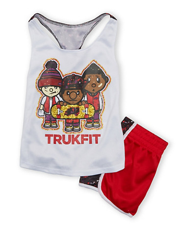 Girls 4-6x Trukfit Graphic Tank Top With Matching Shorts Set,WHITE,large