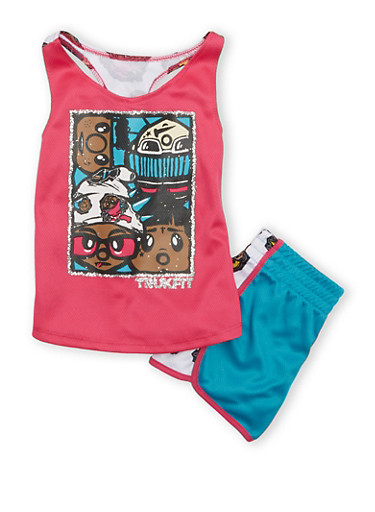 Girls 4-6x Trukfit Mesh Racerback Tank Top And Shorts With Skater Graphics,FUCHSIA,large