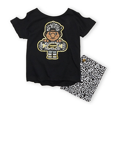 Girls 4-6x Trukfit Brand Shorts Set With Abstract Print Skater Boy Graphic,BLACK,large