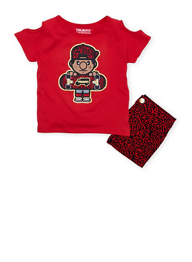 Girls 4-6x Trukfit Graphic Cold Shoulder Tee and Printed Shorts Set,RED,large