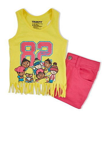 Girls 4-6x Trukfit Graphic Fringed Tank Top And Denim Shorts Set,YELLOW,large