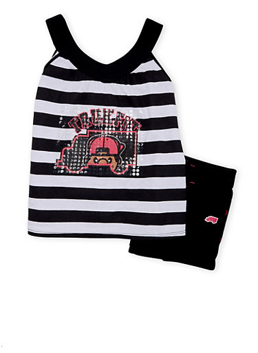Girls 4-6x Trukfit Striped Graphic Tank Top With Shorts Set,BLACK,large