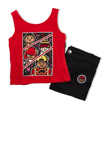 Girls 4-6x Trukfit Glitter Graphic Top With Ruffle Back And Shorts Set,RED,large