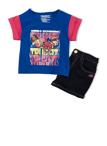 Girls 4-6x Trukfit Colorblock Graphic T Shirt with Denim Shorts Set,ROYAL,large