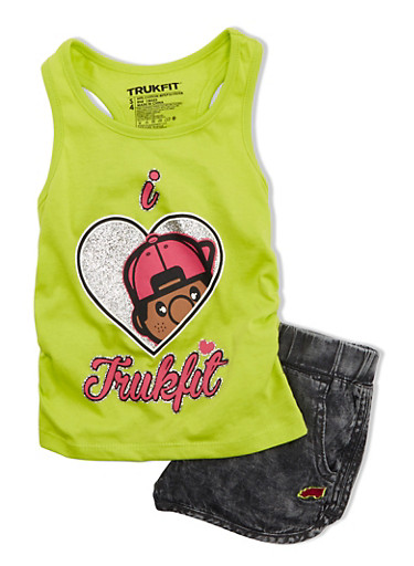 Girls 4-6x Trukfit Glitter Graphic Tank with Racerback and Denim Shorts Set,LIME,large