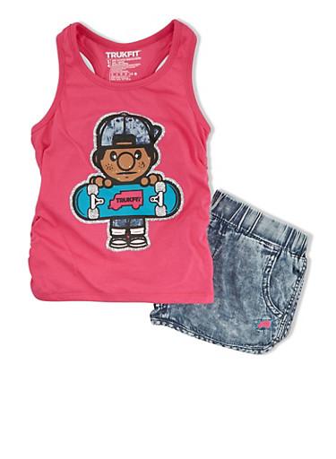 Girls 4-6x Trukfit Graphic Racerback Tank Top And Denim Print Running Shorts Set,FUCHSIA,large