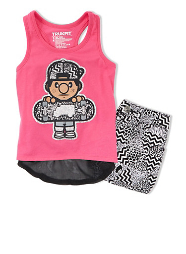 Girls 4-6x Trukfit Graphic Racerback Ruffle Tank With Abstract Print Shorts Set,FUCHSIA,large