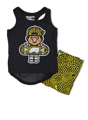 Girls 4-6x Trukfit Animal Print Shorts And High Low Glitter Skater Top Set,BLACK,large