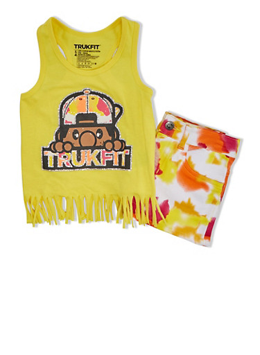 Girls 4-6x Trukfit Glitter Graphic Fringe Tank Top And Tie Dye Shorts Set,YELLOW,large