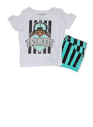 Girls 4-6x Trukfit Cold Shoulder Graphic T-Shirt And Striped Denim Shorts Set,WHITE,large