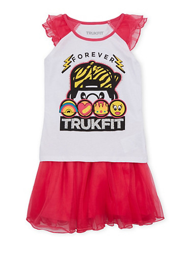 Girls 4-6x Trukfit Top and Tutu Set with Tulle Trimmings,FUCHSIA,large