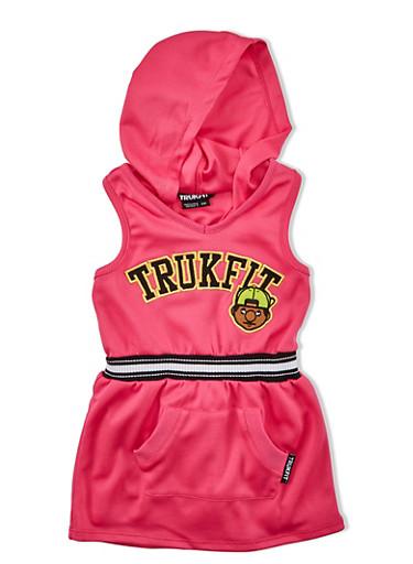 Girls 4-6x Trukfit Sleeveless Mesh Graphic Dress With Hood,FUCHSIA,large