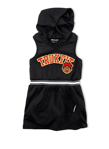 Girls 4-6x Trukfit Sleeveless Mesh Graphic Dress With Hood,BLACK,large
