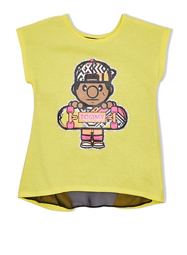 Girls 7-16 Trukfit Graphic Tee With Open Back And Sheer Underlay,YELLOW,large