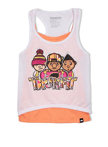 Girls 7-16 Trukfit Layered Tank Top with Rhinestone and Glitter Graphic,WHITE,large