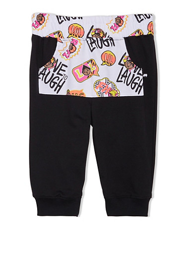 Girls 7-16 Trukfit Joggers with Printed Front Pocket,BLACK,large
