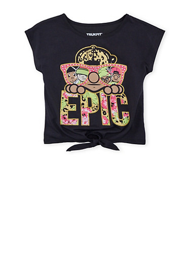 Girls 7-16 Trukfit T Shirt with Graphic and Tie Front,BLACK,large