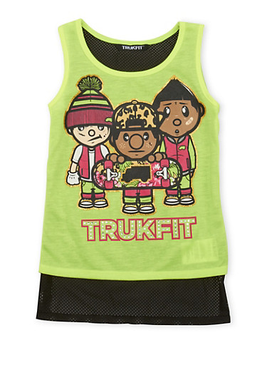 Girls 7-16 Trukfit Tank Top with Skateboarder Graphic,NEON LIME,large