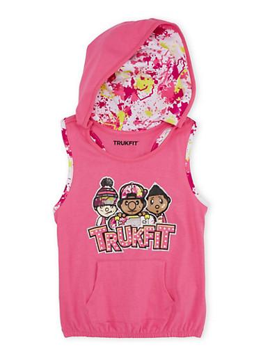Girls 7-16 Trukfit Sleeveless Hoodie with Graphic,FUCHSIA,large