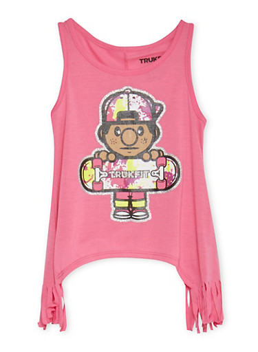Girls 7-16 Trukfit Fringe Top with Shark Bite Hem and Lil Tommy Print,FUCHSIA,large