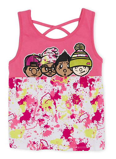Girls 7-16 Trukfit Printed Tank Top with Graphic,FUCHSIA,large