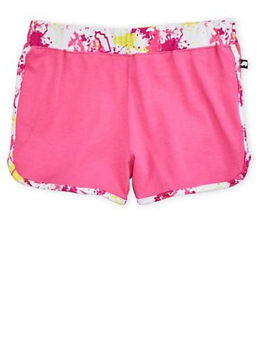 Girls 7-16 Trukfit Print Fuchsia Jogger Shorts with Paint Splatter Trim,FUCHSIA,large