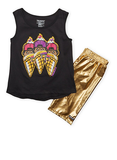 Girls 7-12 Trukfit Top with Ice Cream Cone Graphic and Gold Lame Shorts Set,BLACK,large
