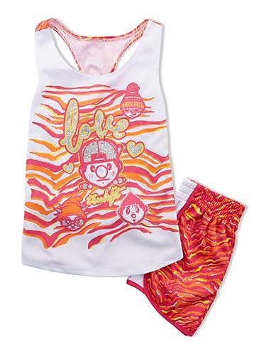 Girls 7-12 Trukfit Love Graphic Jersey Tank With Matching Shorts Set,WHITE,large